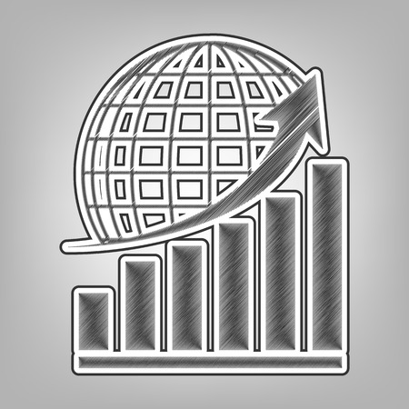 decreasing: Growing graph with earth. Vector. Pencil sketch imitation. Dark gray scribble icon with dark gray outer contour at gray background.