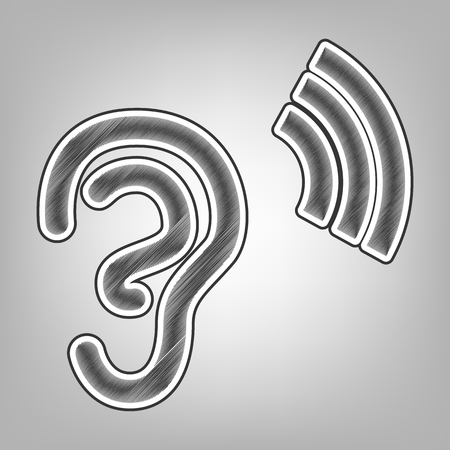 Human anatomy. Ear sign with soundwave. Vector. Pencil sketch imitation. Dark gray scribble icon with dark gray outer contour at gray background.