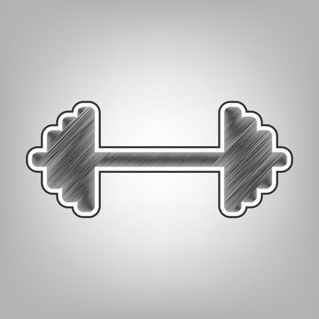 Dumbbell weights sign. Vector. Pencil sketch imitation. Dark gray scribble icon with dark gray outer contour at gray background.