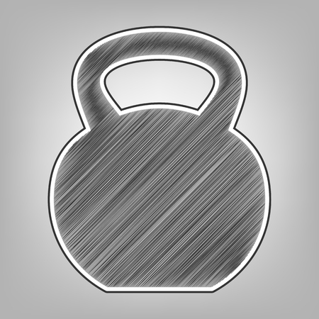 Fitness Dumbbell sign. Vector. Pencil sketch imitation. Dark gray scribble icon with dark gray outer contour at gray background.