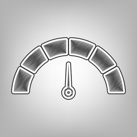 indicator panel: Speedometer sign illustration. Vector. Pencil sketch imitation. Dark gray scribble icon with dark gray outer contour at gray background.