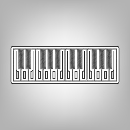Piano Keyboard sign. Vector. Pencil sketch imitation. Dark gray scribble icon with dark gray outer contour at gray background.