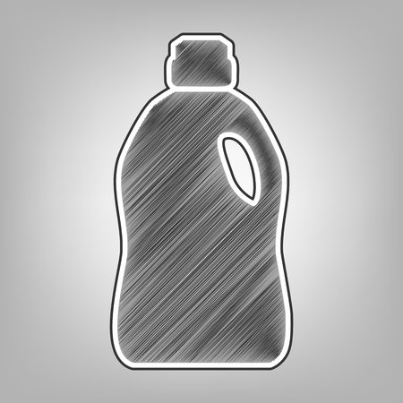 cleanse: Plastic bottle for cleaning. Vector. Pencil sketch imitation. Dark gray scribble icon with dark gray outer contour at gray background.