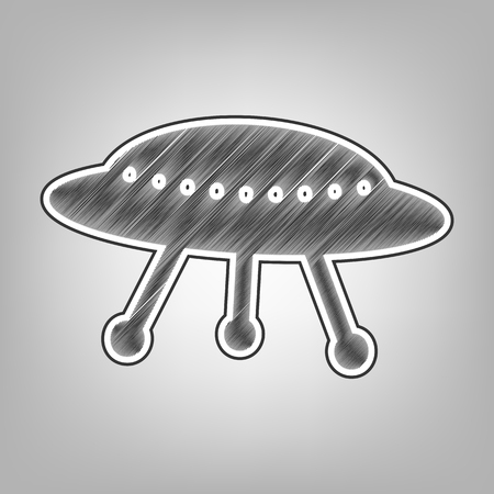 UFO simple sign. Vector. Pencil sketch imitation. Dark gray scribble icon with dark gray outer contour at gray background.