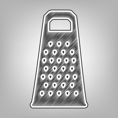 grater: Cheese grater sign. Vector. Pencil sketch imitation. Dark gray scribble icon with dark gray outer contour at gray background. Illustration