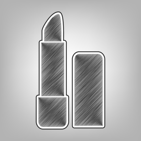 pomade: Pomade simple sign. Vector. Pencil sketch imitation. Dark gray scribble icon with dark gray outer contour at gray background. Illustration