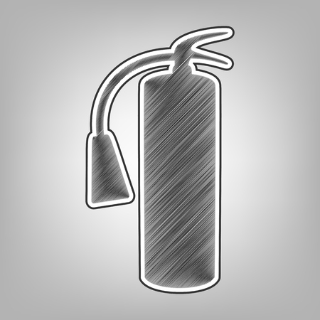 Fire extinguisher sign. Vector. Pencil sketch imitation. Dark gray scribble icon with dark gray outer contour at gray background. Ilustração