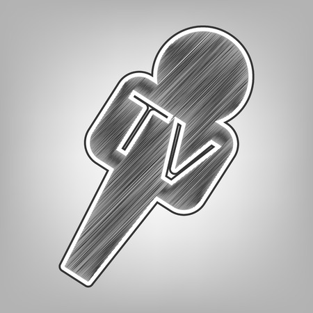 TV microphone sign illustration. Vector. Pencil sketch imitation. Dark gray scribble icon with dark gray outer contour at gray background.