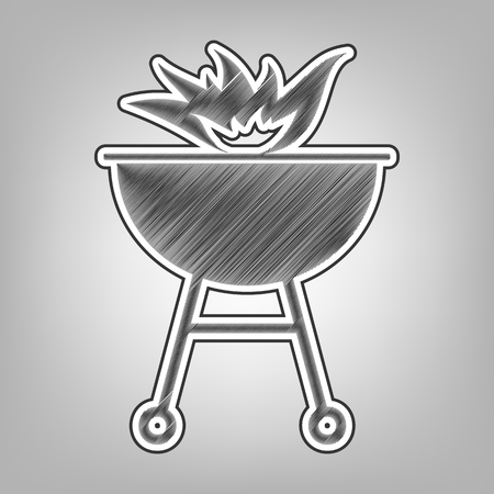 cookout: Barbecue with fire sign. Vector. Pencil sketch imitation. Dark gray scribble icon with dark gray outer contour at gray background. Illustration