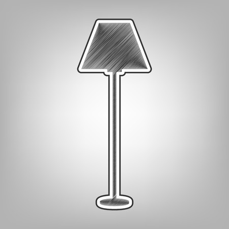 illuminate: Lamp simple sign. Vector. Pencil sketch imitation. Dark gray scribble icon with dark gray outer contour at gray background. Illustration