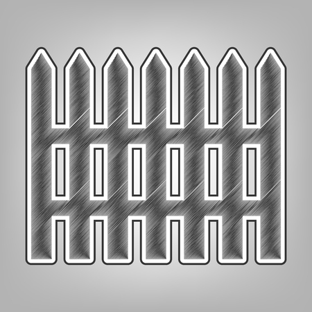 Fence simple sign. Vector. Pencil sketch imitation. Dark gray scribble icon with dark gray outer contour at gray background.