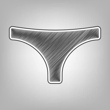 women s clothes: Womens panties sign. Vector. Pencil sketch imitation. Dark gray scribble icon with dark gray outer contour at gray background.