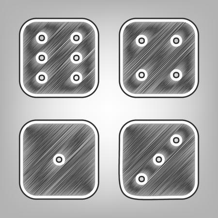 Dice segno. Vettore. Imitazione di schizzo di matita. Icona scribble grigio scuro con contorno esterno grigio scuro a sfondo grigio. Vettoriali