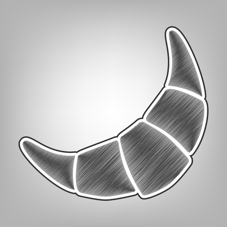 Croissant simple sign. Vector. Pencil sketch imitation. Dark gray scribble icon with dark gray outer contour at gray background. Illustration