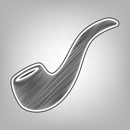 cigar shape: Smoke pipe sign. Vector. Pencil sketch imitation. Dark gray scribble icon with dark gray outer contour at gray background.