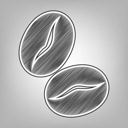 Coffee beans sign. Vector. Pencil sketch imitation. Dark gray scribble icon with dark gray outer contour at gray background. Ilustração