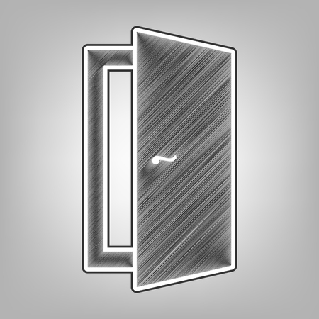 Door sign illustration. Vector. Pencil sketch imitation. Dark gray scribble icon with dark gray outer contour at gray background.