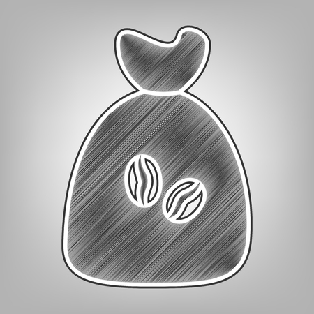 coffee beans: Coffee bag Icon. Coffee bag. Vector. Coffee bag Icon Button. Vector. Pencil sketch imitation. Dark gray scribble icon with dark gray outer contour at gray background.