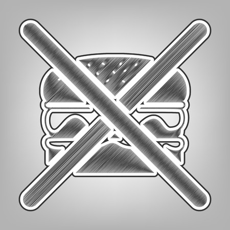 No burger sign. Vector. Pencil sketch imitation. Dark gray scribble icon with dark gray outer contour at gray background. Illustration