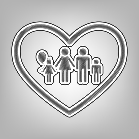 siloette: Family sign illustration in heart shape. Vector. Pencil sketch imitation. Dark gray scribble icon with dark gray outer contour at gray background.