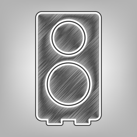 Speaker sign illustration. Vector. Pencil sketch imitation. Dark gray scribble icon with dark gray outer contour at gray background.