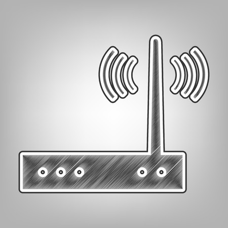 Wifi modem sign. Vector. Pencil sketch imitation. Dark gray scribble icon with dark gray outer contour at gray background.