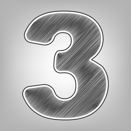 calculate: Number 3 sign design template element. Vector. Pencil sketch imitation. Dark gray scribble icon with dark gray outer contour at gray background.