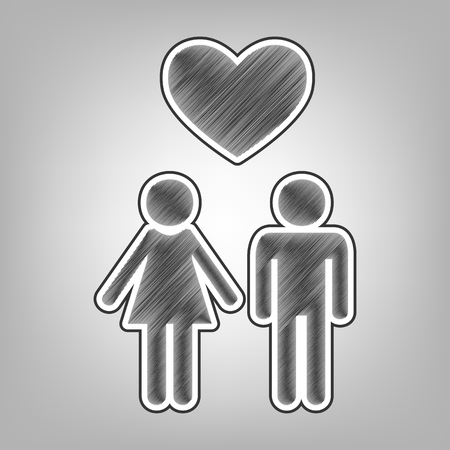 Family symbol with heart. Husband and wife are kept each other`s hands. Love. Vector. Pencil sketch imitation. Dark gray scribble icon with dark gray outer contour at gray background.