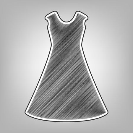 cor: beautiful long dress sign. Vector. Pencil sketch imitation. Dark gray scribble icon with dark gray outer contour at gray background.