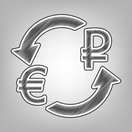 Wechselstube Zeichen . Euro und Russland Rubel . Vektor . Bleistift-Skizze Nachahmung . Dunkelgrauer geometrischer Hintergrund mit dunkelgrauer äußerer Kontur auf grauem Hintergrund