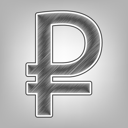 progressing: Ruble sign. Vector. Pencil sketch imitation. Dark gray scribble icon with dark gray outer contour at gray background.