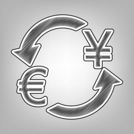 Currency exchange sign. Euro and Japan Yen. Vector. Pencil sketch imitation. Dark gray scribble icon with dark gray outer contour at gray background. Illustration