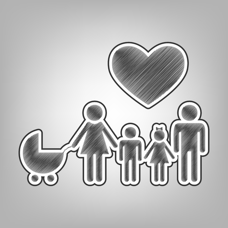 approach: Family sign with heart. Husband and wife are kept childrens hands. Vector. Pencil sketch imitation. Dark gray scribble icon with dark gray outer contour at gray background.