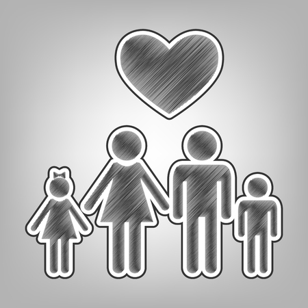 Family symbol with heart. Husband and wife are kept childrens hands. Love. Vector. Pencil sketch imitation. Dark gray scribble icon with dark gray outer contour at gray background.