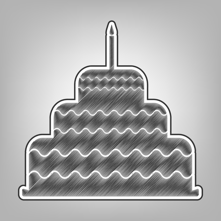 Cake with candle sign. Vector. Pencil sketch imitation. Dark gray scribble icon with dark gray outer contour at gray background. Illustration