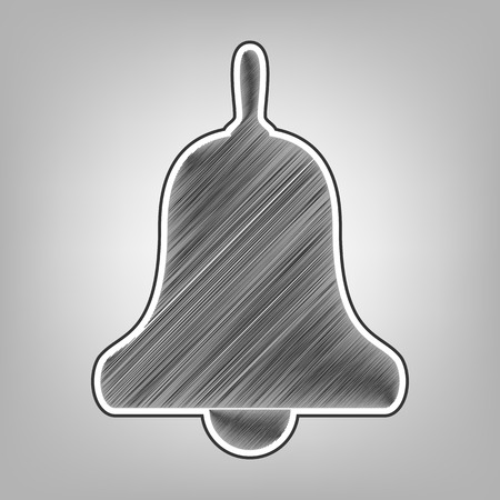 noisy: Bell Alarm, hand bell sign. Vector. Pencil sketch imitation. Dark gray scribble icon with dark gray outer contour at gray background.