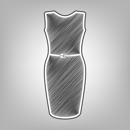 cor: Dress sign illustration. Vector. Pencil sketch imitation. Dark gray scribble icon with dark gray outer contour at gray background.