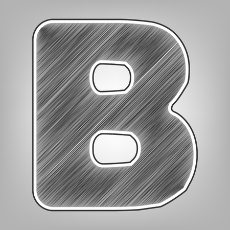 alphabetic character: Letter B sign design template element. Vector. Pencil sketch imitation. Dark gray scribble icon with dark gray outer contour at gray background.