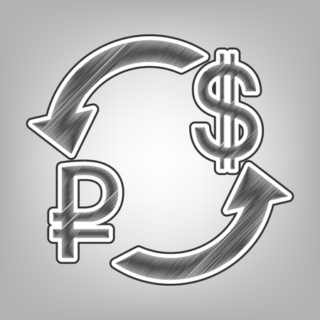 Currency exchange sign. Ruble and US Dollar. Vector. Pencil sketch imitation. Dark gray scribble icon with dark gray outer contour at gray background.
