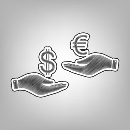 Valutawissel van hand tot hand. Dollar en Euro. Vector. Potloodschetsimitatie. Donkergrijs gekrabbelpictogram met donkergrijze buitencontour bij grijze achtergrond.