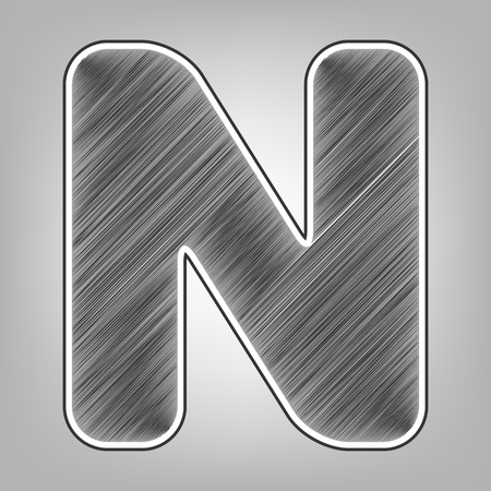 alphabetic character: Letter N sign design template element. Vector. Pencil sketch imitation. Dark gray scribble icon with dark gray outer contour at gray background.