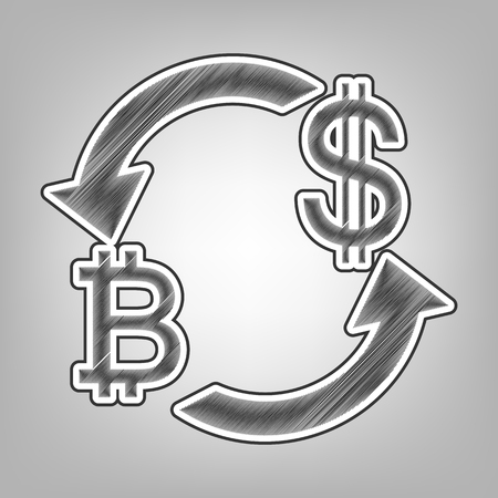 yen: Currency exchange sign. Bitcoin and US Dollar. Vector. Pencil sketch imitation. Dark gray scribble icon with dark gray outer contour at gray background. Illustration