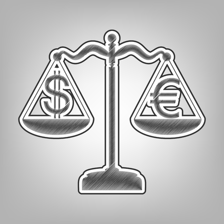 Justice scales with currency exchange sign. Vector. Pencil sketch imitation. Dark gray scribble icon with dark gray outer contour at gray background. Illustration