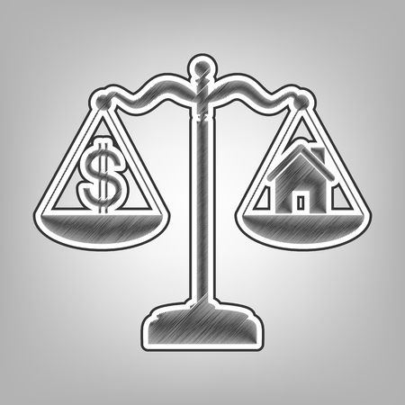 calculate: House and dollar symbol on scales. Vector. Pencil sketch imitation. Dark gray scribble icon with dark gray outer contour at gray background. Illustration