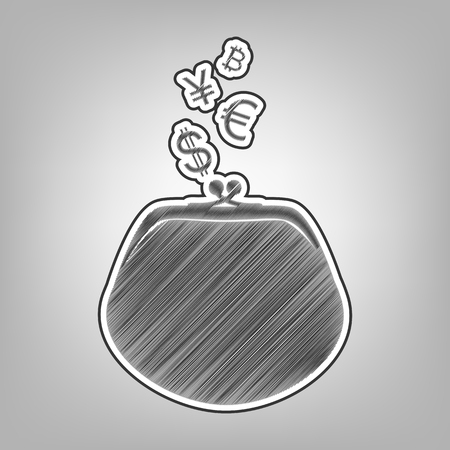 yen: Wallet sign with currency symbols. Vector. Pencil sketch imitation. Dark gray scribble icon with dark gray outer contour at gray background. Illustration