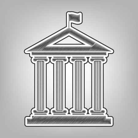 roman pillar: Historical building with flag. Vector. Pencil sketch imitation. Dark gray scribble icon with dark gray outer contour at gray background. Illustration