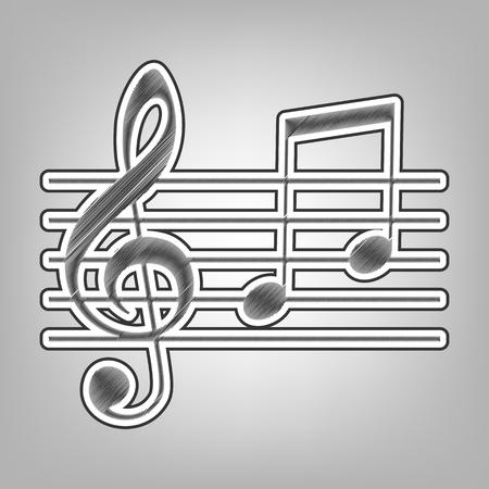 Señal De Micrófono Con Notas Musicales Vector Lápiz