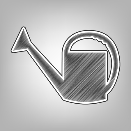 seeding: Watering sign. Vector. Pencil sketch imitation. Dark gray scribble icon with dark gray outer contour at gray background.