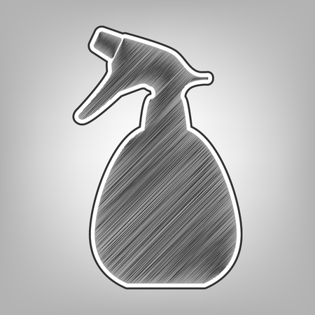 pictograph: Spray bottle for cleaning sign. Vector. Pencil sketch imitation. Dark gray scribble icon with dark gray outer contour at gray background.