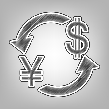 Currency exchange sign. Japan Yen and US Dollar. Vector. Pencil sketch imitation. Dark gray scribble icon with dark gray outer contour at gray background. Illustration